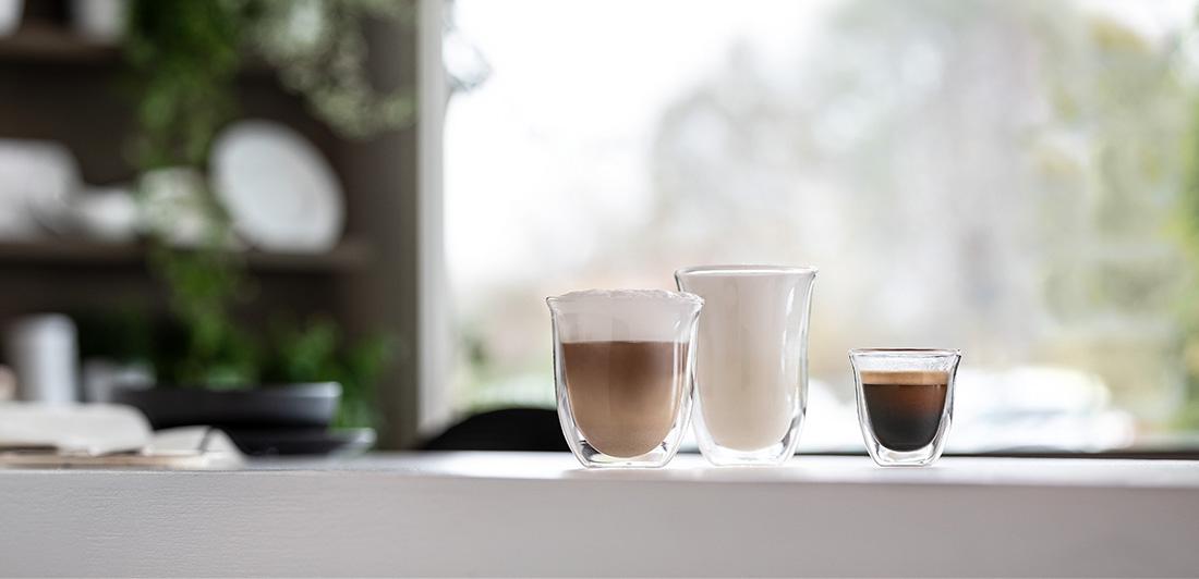 delonghi coffee accessories double wall espresso glasses banner