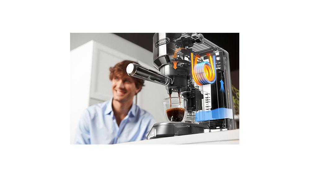 Delonghi dedica style charismatic black pump coffee machine ec685.bk features 9