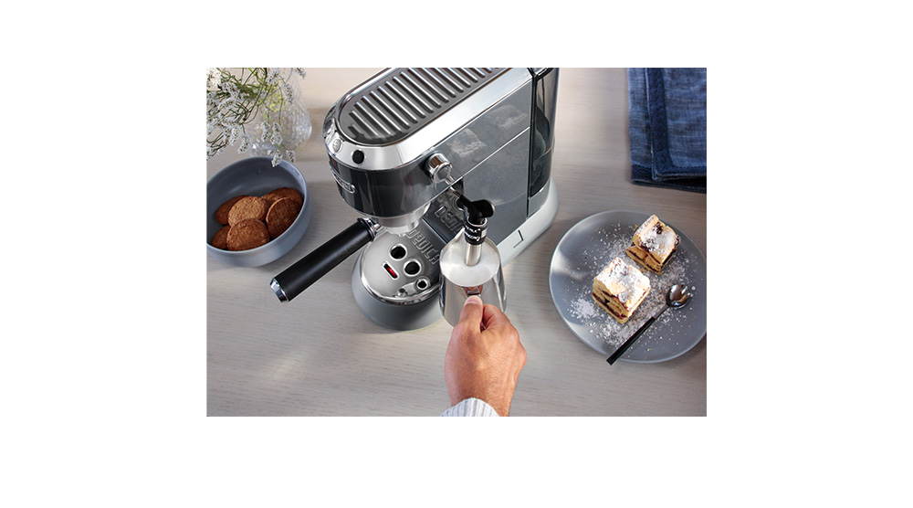 Delonghi dedica metallics pump coffee machine mesmerising azure features 2