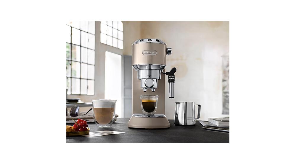 Delonghi dedica metallics pump coffee machine champagne beige EC785.BG features 1