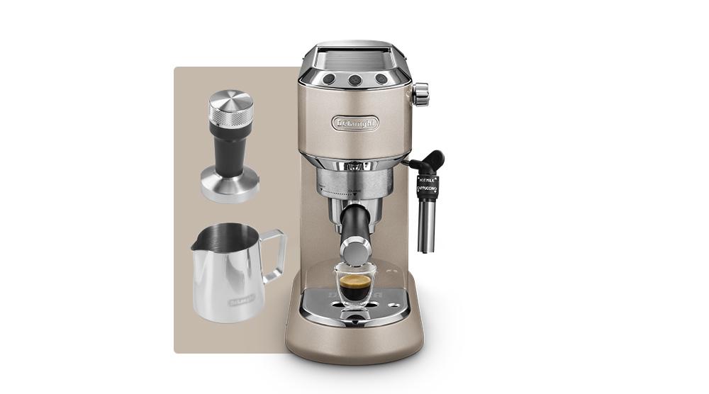 Delonghi dedica metallics pump coffee machine champagne beige EC785.BG features 13