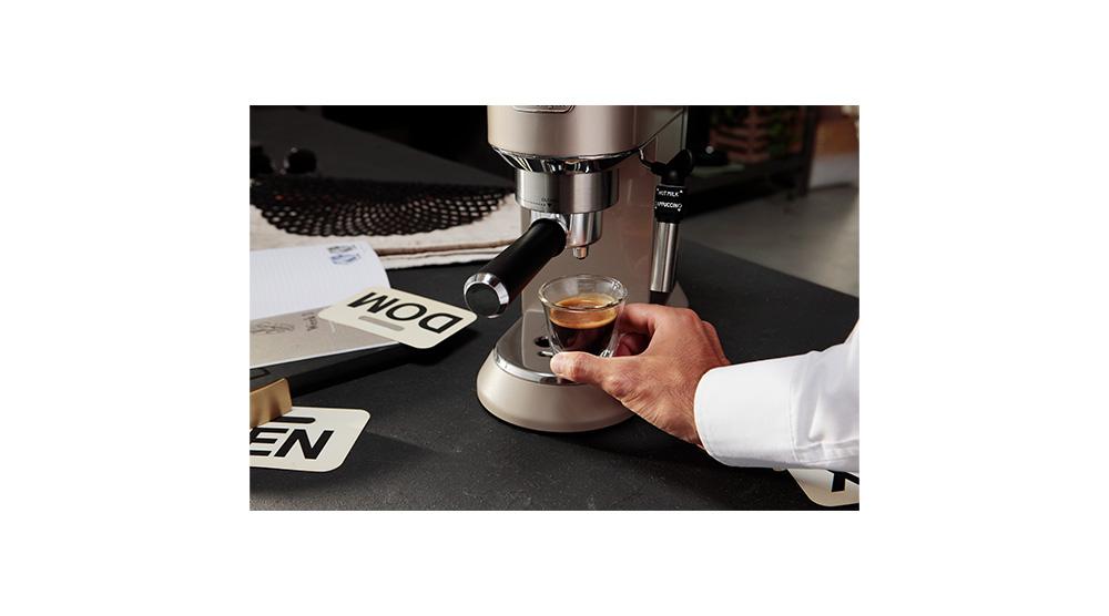 Delonghi dedica metallics pump coffee machine champagne beige EC785.BG features 3