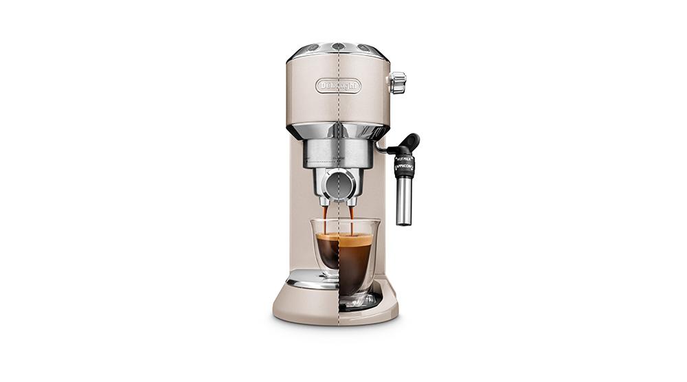Delonghi dedica metallics pump coffee machine champagne beige EC785.BG features 5