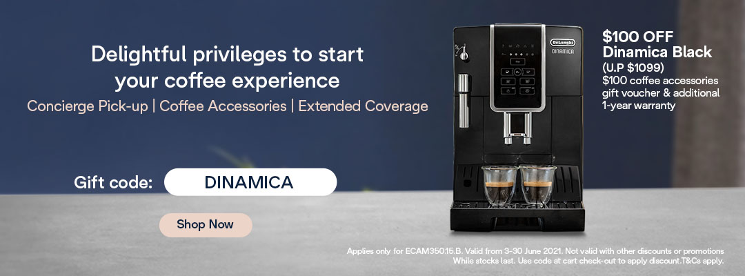De'Longhi Mid Year Special - $100 Off + $100 Coffee Accessories Gift Voucher & Additional 1-Year Warranty for Dinamica Black
