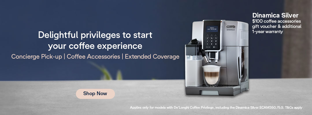 De'Longhi Mid Year Special - $100 Coffee Accessories Gift Voucher & Additional 1-Year Warranty for Dinamica Silver