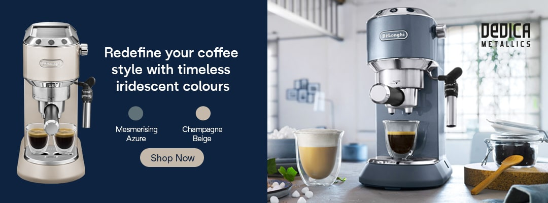 Redefine your coffee style with timeless iridescent colours now available for the all-new Dedica Metallics