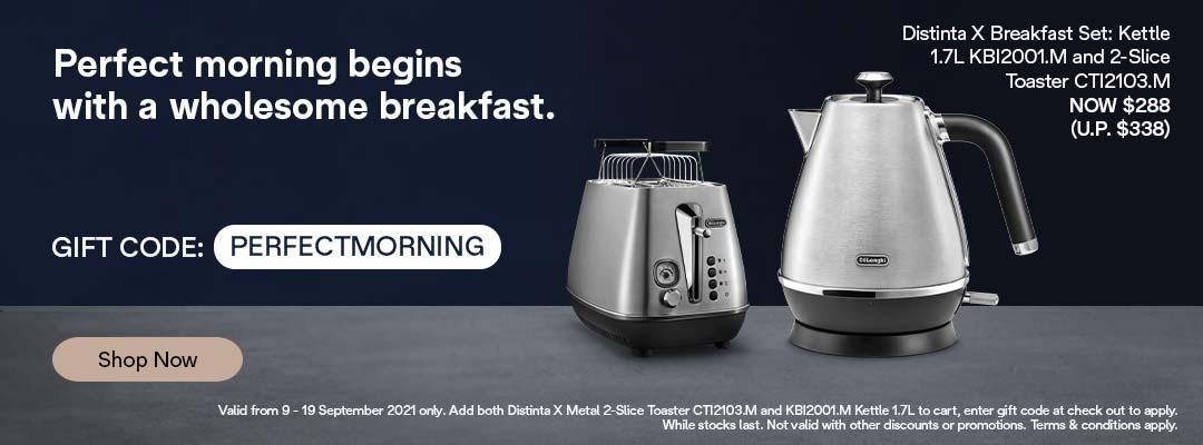 De'Longhi 9.9 Special - Receive $50 off Distinta X Kettle & Toaster Set