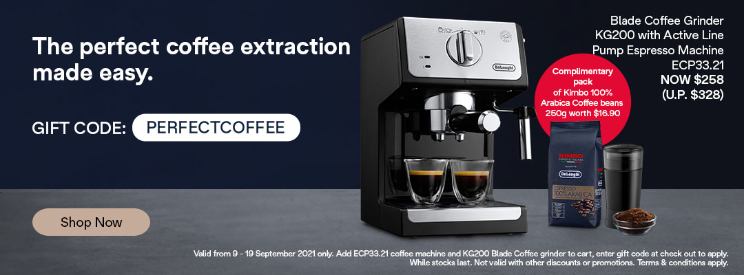 De'Longhi 9.9 Special - Receive $70 off + free 100% Kimbo Arabica Coffee Beans 250g with purchase of ECP33.21 Active Line Coffee Machine and KG200 Blade Grinder