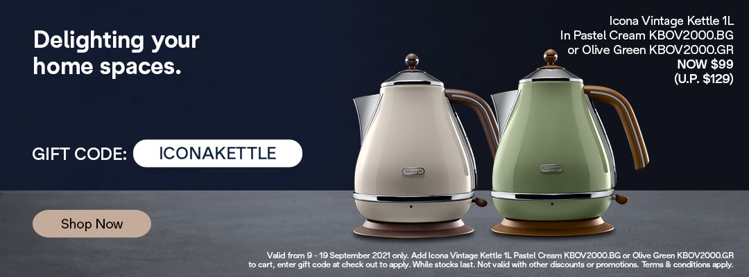De'Longhi 9.9 Special - Receive $30 off Icona Vintage  Kettle 1L in Pastel Cream or Olive Green